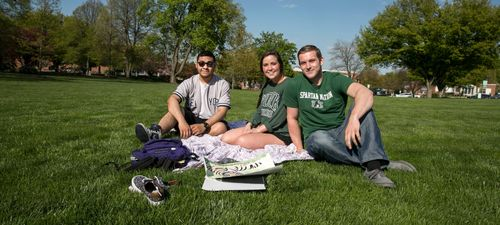 York College students enjoying a spring day