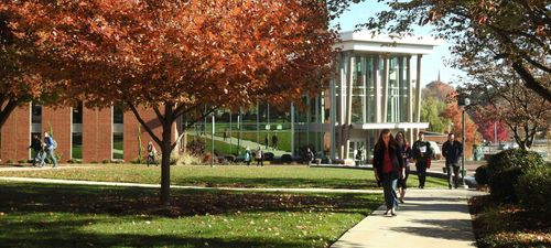 Fall scene in front of York College WPAC