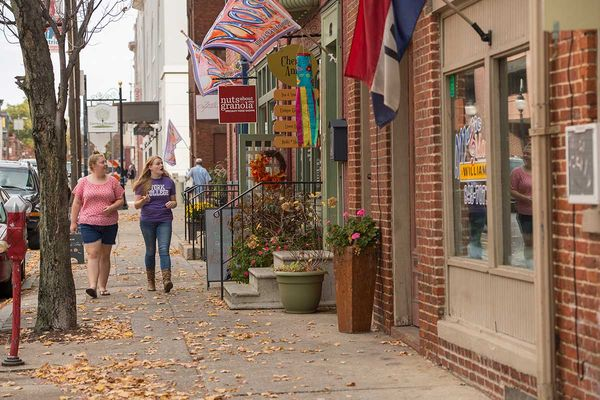 York College students enjoying the small businesses and shops in downtown York, Pennsylvania.
